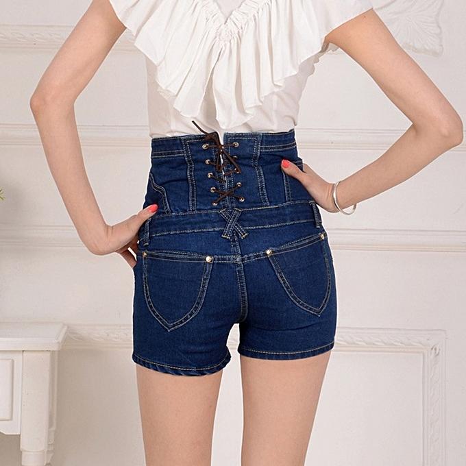 43330dcf269 Fashion Womens Plus Size Jean High Waist Shorts Denim pants summer ...
