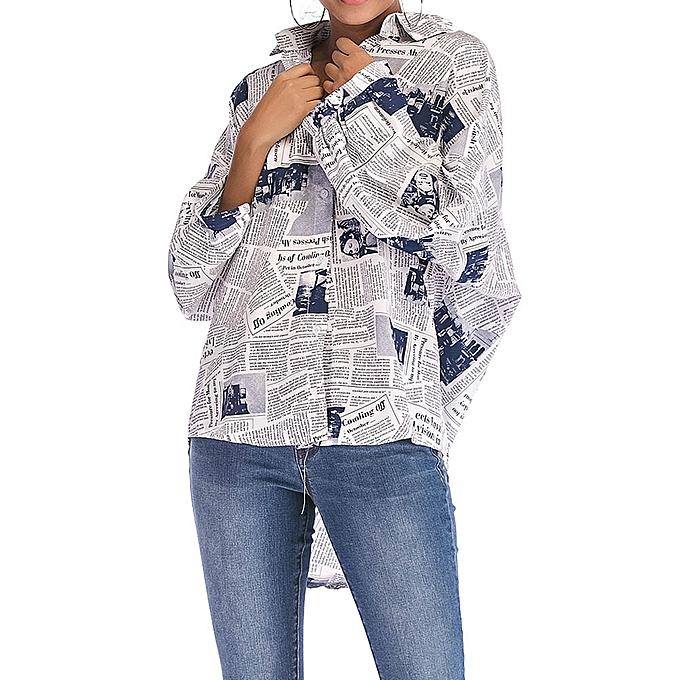 63d9dd4504 huskspo Women Autumn Long Sleeve Turndown Neck Printed Pullover TShirt Tops  Blouse