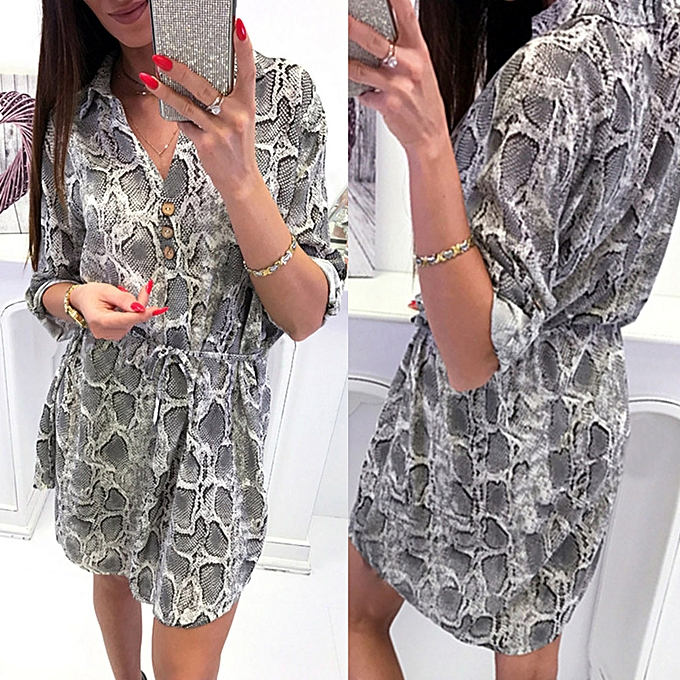 e8b26ab5799c jiahsyc store Women Sexy V-Neck Leopard Print Long Sleeve Button Lace-up  Party