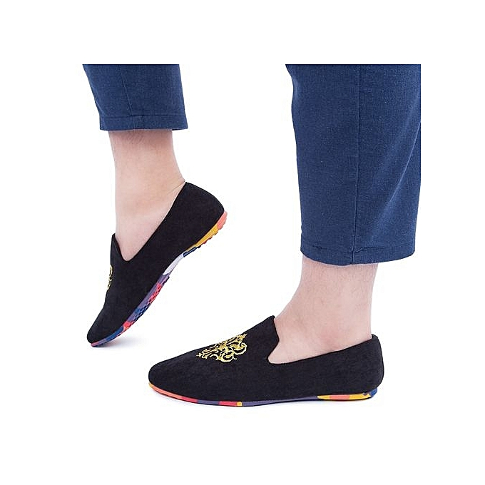 7348dd45537f5 Generic Male Slip On Nubuck Leather Casual Loafers Shoes-BLACK ...