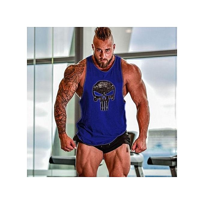 Blue Men Tops Tees Vest Muscle Guys Bodybuilding Underwaist Stringer Tank  Tops Summer Mens Fitness Workout f9f1658a4f64