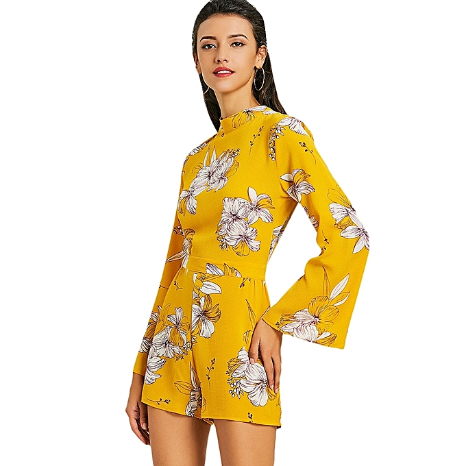 5b39761a6307 ZAFUL Open Back Floral Bowknot Romper - YELLOW   Best Price