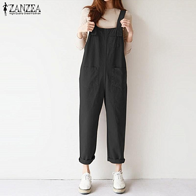 17aa69812cf0 ZANZEA Women Long Dungarees Suspenders Bib Pants Playsuit Jumpsuit Overalls