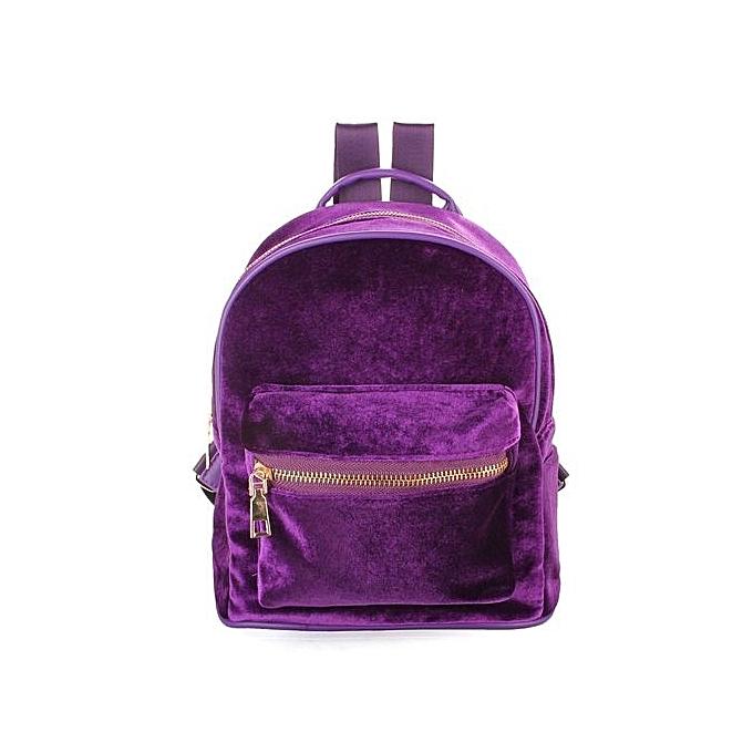 0a69340d4414 Women Fashion Cute Backpacks Velvet Casual Style Retro Backapck Solid  Flannel Girls Mochila Zipper Small Bags