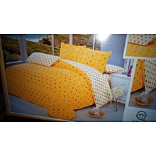 6PC Cotton Duvet Cover Set - 6x6 - Yellow & Cream Polka Dot