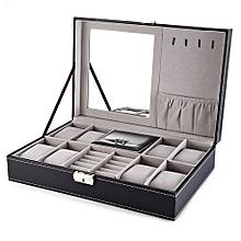 Multifunctional 8 Watch Box Jewelry Organizer-BLACK