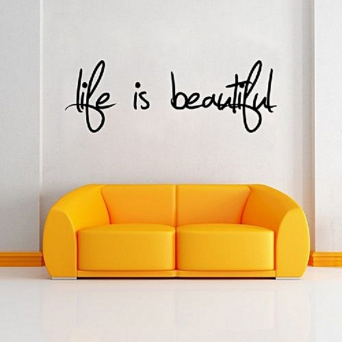Buy DSU Life Is Beautiful Quote Wall Sticker Home Decor Easy Art ...