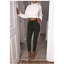 Hot SaleAutumn And Winter Women New Fashion Sexy Slim Striped High Waist Pants Casual Side Pockets Skinny Leggings Elastic Waist Pants Plus Size S-XXXXL