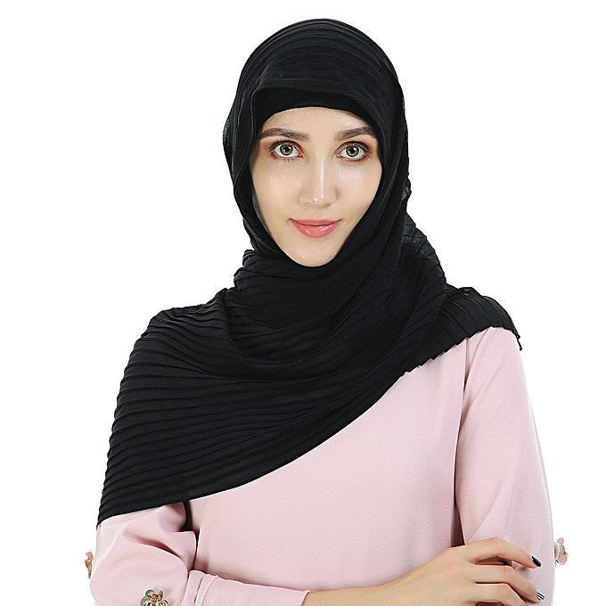 jiuhap store Women Bubble Scarf Hijab Wrap Printe Shawls Headband Muslim  Hijabs Scarves Scarf-Black 8ac49789ed1