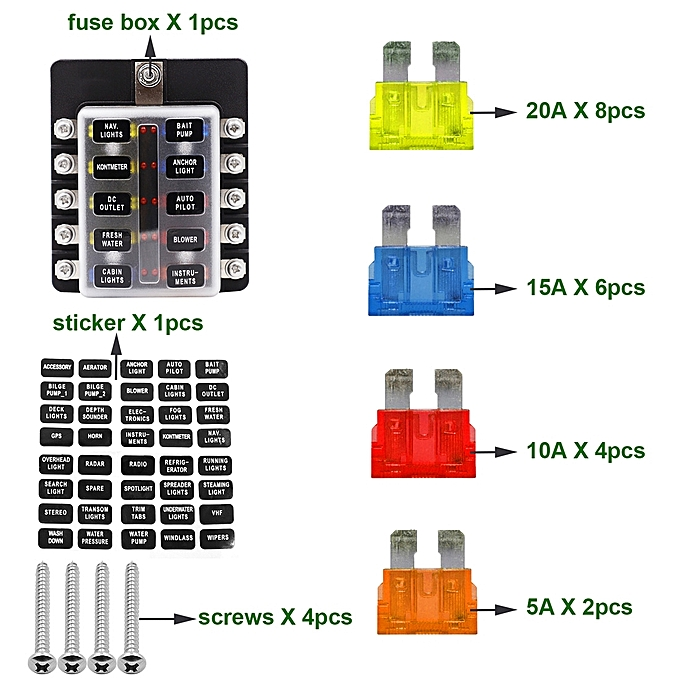 1 in 10 out fuse box screw terminal section fuse holder kits with led  warning indicator