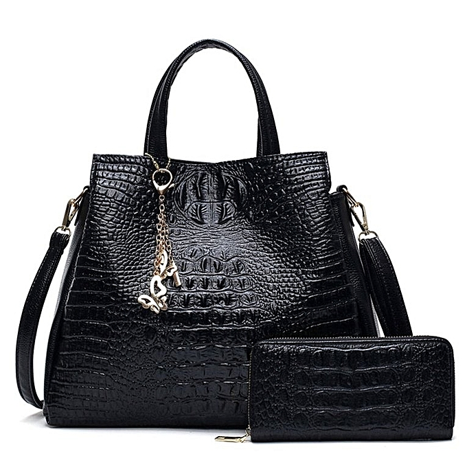 Women Composite Bag Simple Soft PU Leather Crocodile Pattern Messenger Bag  black 2be32c10f5b71