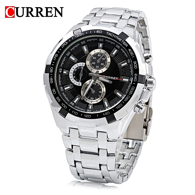 CURREN 8023 Men Quartz Watch Luminous Pointer Water Resistance Military  Wristwatch-BLACK + SILVER 3888a368ee1