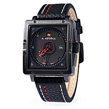 Male Watch Square Dial Calendar Display - Red