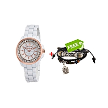 White Shining Diamonds Ladies Watch +FREE  Bracelet