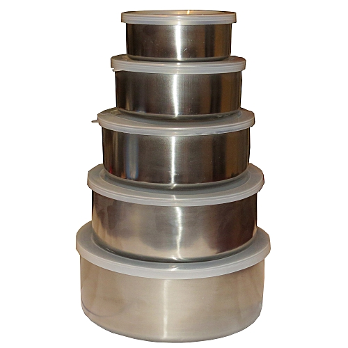 5 Piece Steel Bowl Set with Lids for Multi-Purpose Storage,Mixing,Baking,Salads,Cooking - Silver
