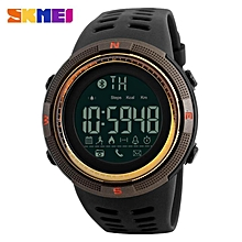 SKMEI 1250 Men Smart Watch Bluetooth Pedometer Calories Chronograph Fashion Outdoor Sport Backlight Waterproof Man Wristwatches Brown Gold By HonTai
