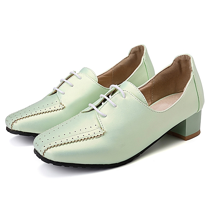 b007a36a83269 Fashion Large Size Women Loafers Square Heel Brogue Shoes @ Best ...