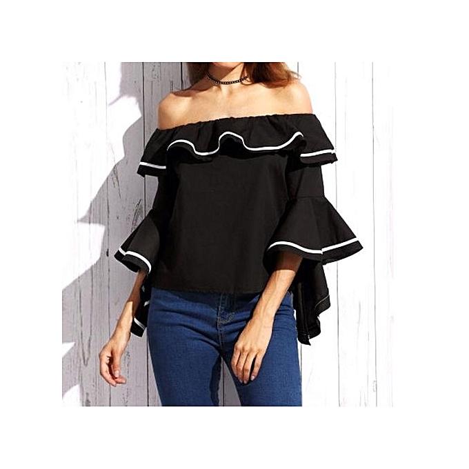 3541379cc8d Women Blouses Sexy Butterfly Sleeve Slash Neck Off Shoulder Femininas Striped  Print Shirts Ruffles Blusas (