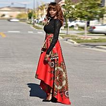 Hiamok New African Women Printed Summer Boho Long Dress Beach Evening Party Maxi Skirt
