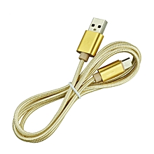 Micro Usb Cable For Nylon Braid Metal For Android Mobile Phone UsbData Cable Wire Alloy Charge(Gold)