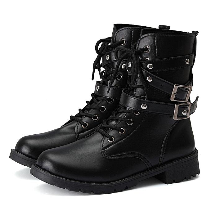 339473c40cd Fashion Womens Punk Motorcycle Biker Military Combat Flat Ankle ...