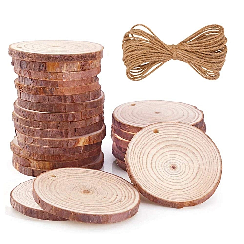 Natural Wood Slices 35 Pcs 24inch 28inch Unfinished Wood Rounds With Holes Wood Circles For Crafts Christmas Ornaments Diy Crafts