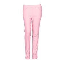 Girls Pink Fitting Cotton Stretch Pants