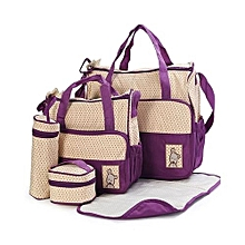 5piece  Diaper Bag, Multi Pockets Waterproof Nappy Bag For Travel, Large Capacity and Stylish-Purple