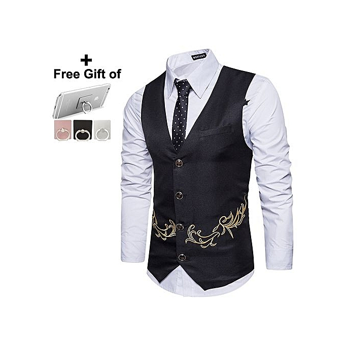 d3c869d15ec Generic Men Vest Suit Embroidery Business Casual Wedding-Black Color ...