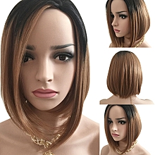 Women Fashion Short Gradient Color Full Wig Bob Hairpiece
