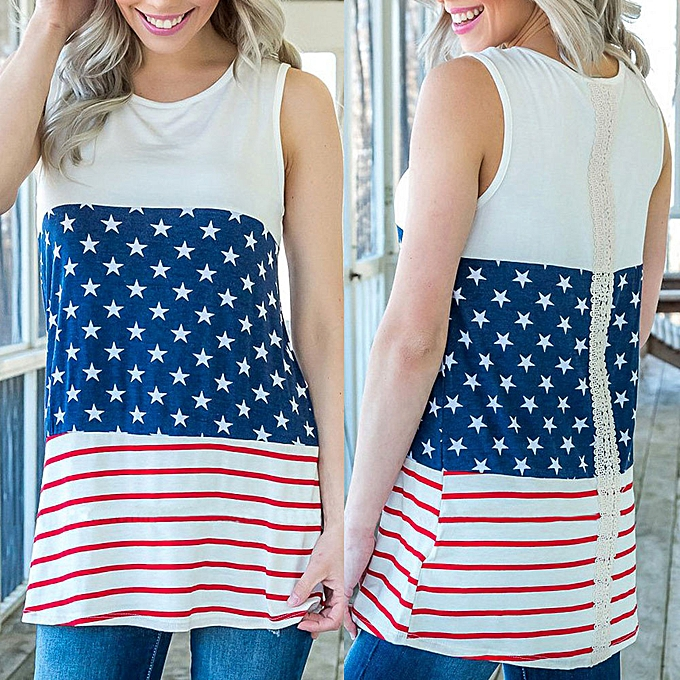 3933825c0dee91 birthpar store Women Summer Fashion Lace Sleeveless American Flag Blouse  Top T Shirt-Red