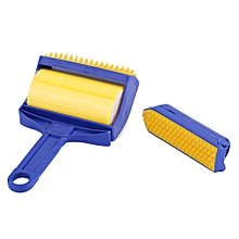Reusable Handheld Picker Lint Sticking Roller Pet Hair Remover Brush Blue & yellow & orange
