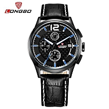 Watches, 80178 Luxury Brand Sports Men Wristwatches Army Quartz Leather Band Chronograph Date Calendar Waterproof Watch - Black