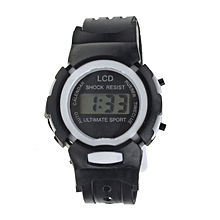 Boys Girls Student Time Sport Electronic Digital LCD Wrist Watch Black