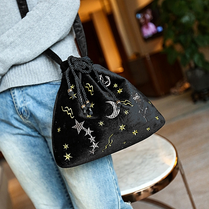 133cdb5d5f4 Women Velvet Bucket Bag Embroidery Drawstring Pouch Cute Shoulder Crossbody  Bags Burgundy Grey Black