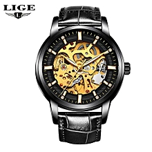 New Fashion LIGE Luxury Brand Watch Men's Automatic Mechanical Watch Men Sports Waterproof Leather Watches Man Relogio Masculino 9848