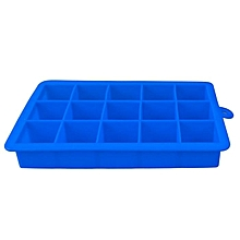15 Grids Square Shape Silicone Ice Cube Moulds - Blue