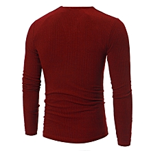 Man's Autumn Winter Casual V-Neck Men's Slim Sweaters Tops Blouse ?- Red