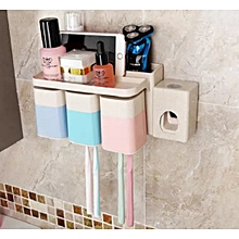 ToothBrush Holder,Toothpaste Dispenser,Gargle Cup Set-White