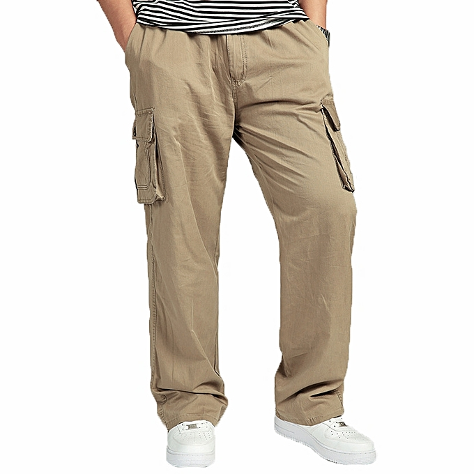 9e484414e4d Large Size Big Pocket Loose Washed Cargo Pants Men s Outdoor Sports Casual  Elastic Waist Trousers