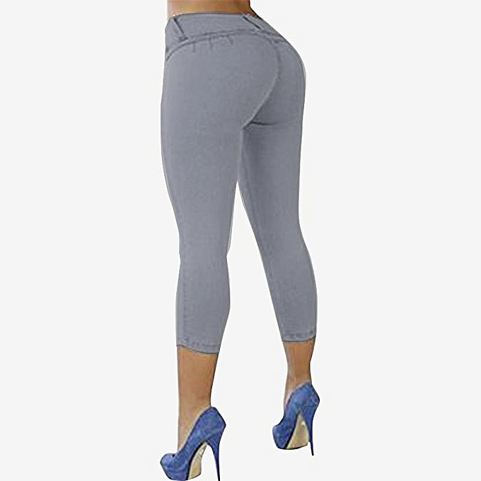 a17ba8f569e ZANZEA ZANZEA Women Plus Size Slim Fit Pants Capris Jeggings High Waist  Trousers Grey