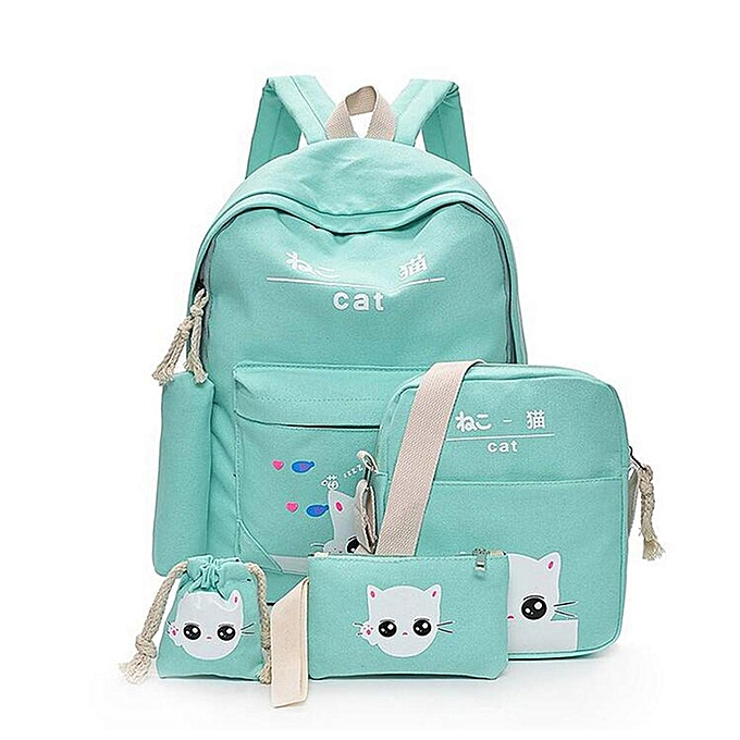 9a1e9baf98ee Fashion 5Pcs Women Backpack Girl School Bookbag Shoulder Bag Rucksack  Travel Bag 4 Set Kids Canvas Backpack For Student Cute Elephant School Bag  ...