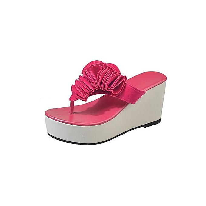 c94eeb7dacf0 Hiaojbk Store Women Thick-Bottom Sloped Slippers Flip Flops High-Heeled Wedges  Platform Shoes