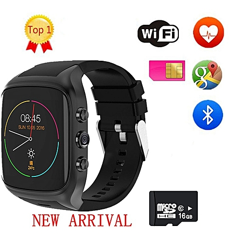 2018 X4 X02 3G WiFi X01S Android Smartwatch Phone Bluetooth Smart Watch  1 3GHz Dual Core IP67 GPS Watch Cam RAM 512M Heart Rate(#Sliver add 16G  card)