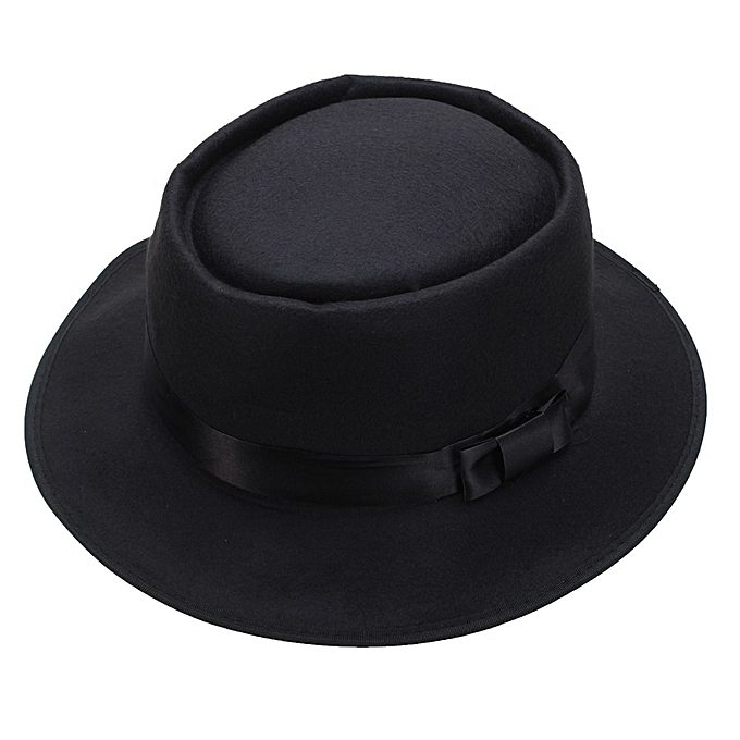 e35bc3b9cbc208 Men Women Wool Felt Round Fedora Cap Crushable Porkpie Vintage Short Brim  Hat Black