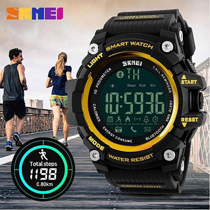 SKEMI Men Sports Watches Digital Bluetooth Watch Pedometer Calorie EL Backlight Waterproof Wristwatches 1227 WWD