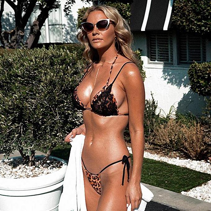 a5609e470b4 Sexy Women Swimsuits Leopard Print Lace Halter Push Up Bandage Thong Bikini  Swimwear Bathing Suit Black