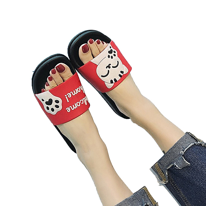 c267605f9cff ... birthpar store Unisex Men Women Home Slippers Panda Slippers Beach  Shoes Sandals Flip Flops-Red ...