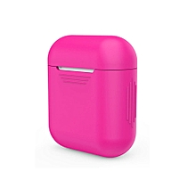 Soft Silicone Shock Proof Protective Cover Case For Apple AirPods Earphones -Hot Pink