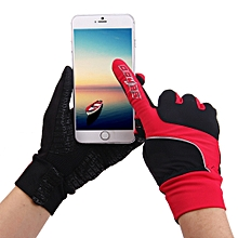 1 Pair SAHOO Touch Screen Full Finger Glove for Outdoor Sports Cycling Biking Red